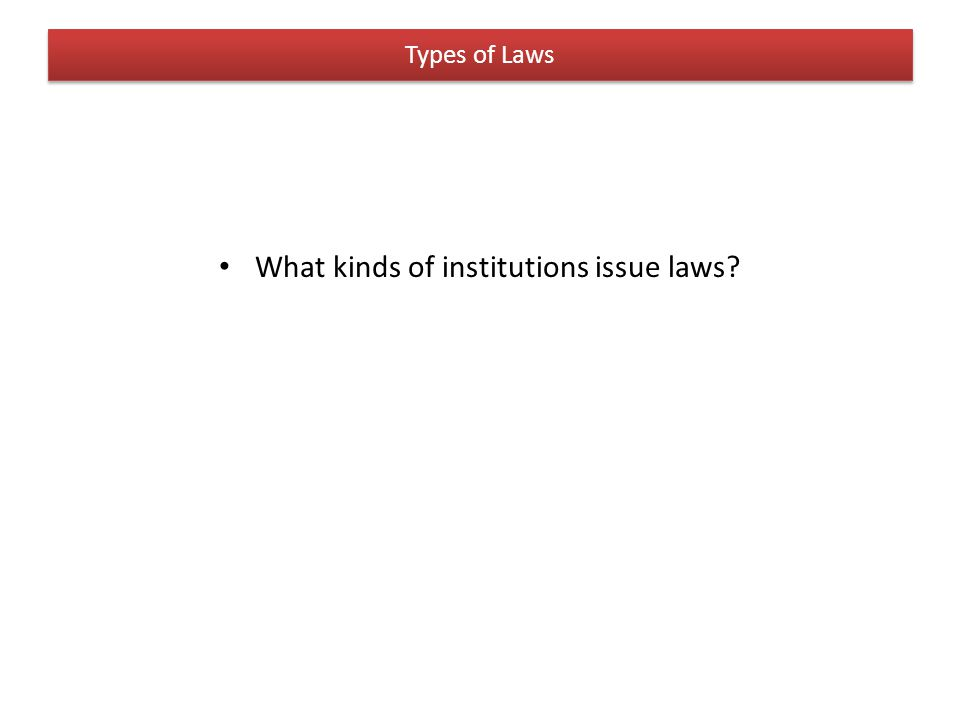 Types of Laws What kinds of institutions issue laws?