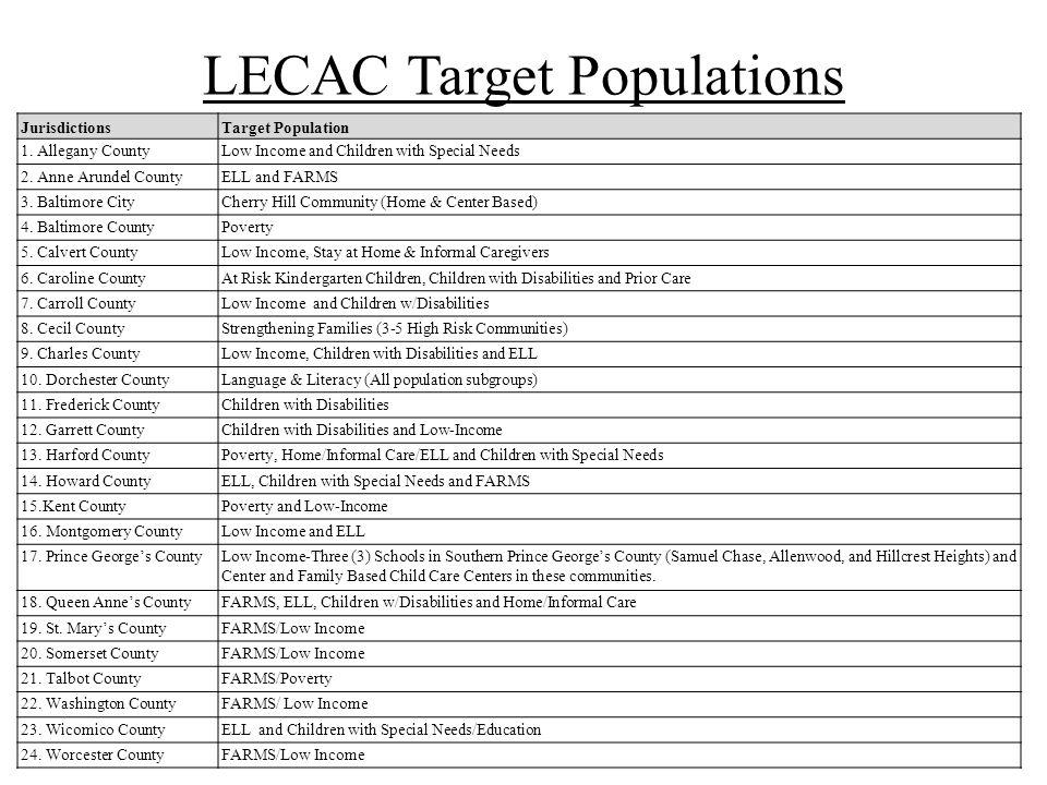 LECAC Target Populations JurisdictionsTarget Population 1.