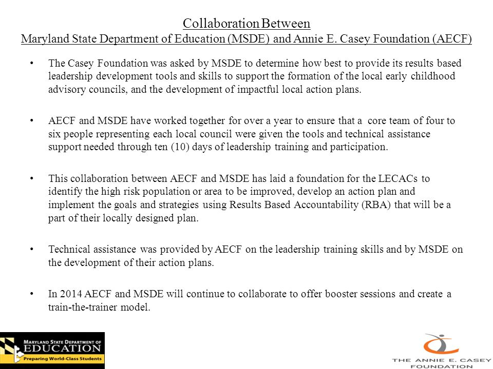 Collaboration Between Maryland State Department of Education (MSDE) and Annie E.