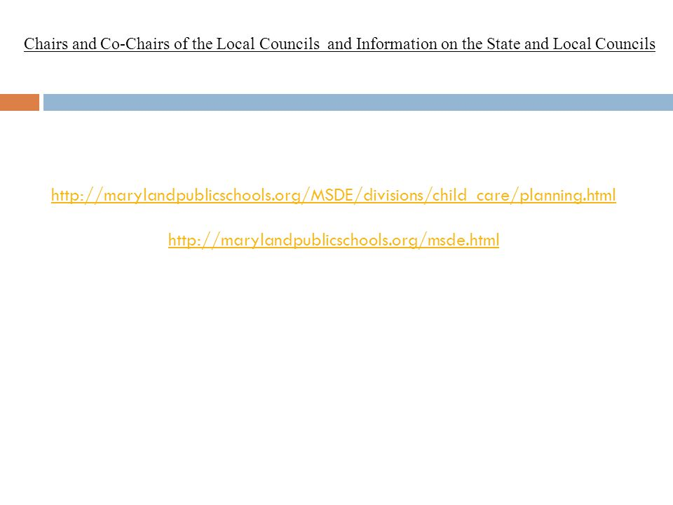 Chairs and Co-Chairs of the Local Councils and Information on the State and Local Councils