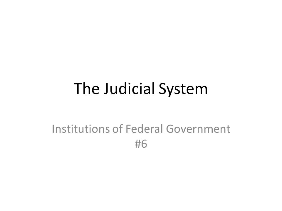 The Judicial System Institutions of Federal Government #6