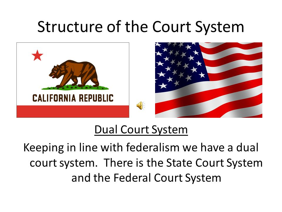 Structure of the Court System Dual Court System Keeping in line with federalism we have a dual court system. There is the State Court System and the F