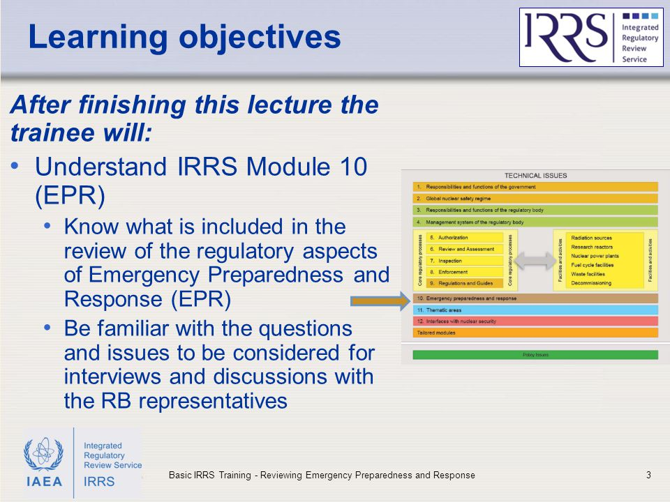 IAEA Learning objectives After finishing this lecture the trainee will: Understand IRRS Module 10 (EPR) Know what is included in the review of the reg