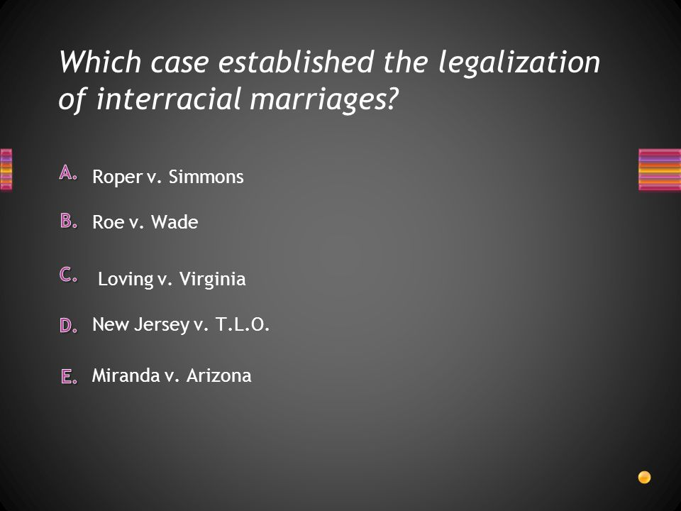 Which case established the legalization of interracial marriages? Miranda v. Arizona New Jersey v. T.L.O. Roper v. Simmons Roe v. Wade Loving v. Virgi