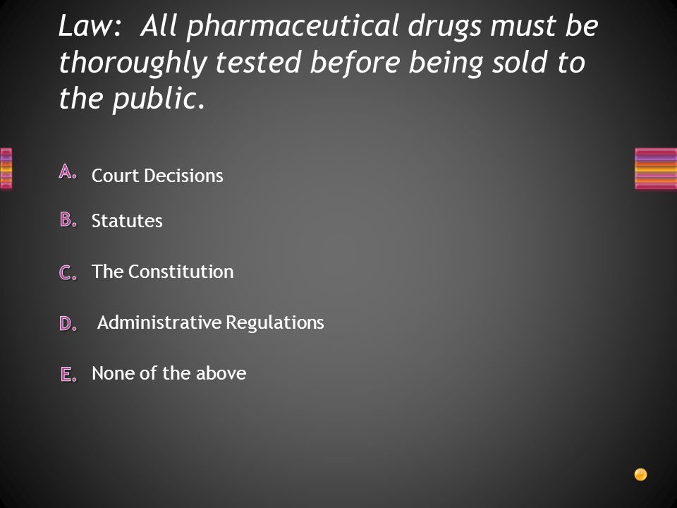 Law: All pharmaceutical drugs must be thoroughly tested before being sold to the public. None of the above Court Decisions The Constitution Statutes A