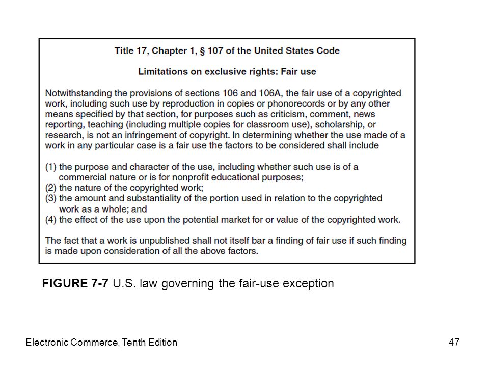 Electronic Commerce, Tenth Edition47 FIGURE 7-7 U.S. law governing the fair-use exception