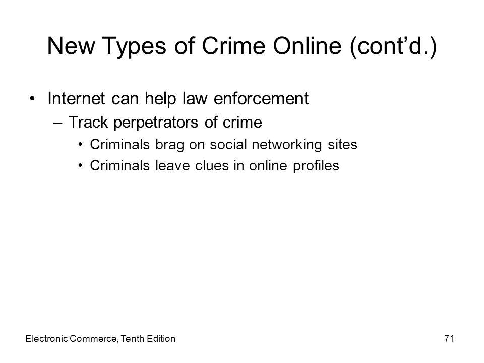 New Types of Crime Online (cont'd.) Internet can help law enforcement –Track perpetrators of crime Criminals brag on social networking sites Criminals