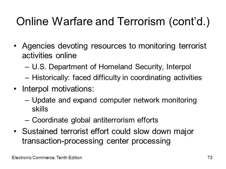 Online Warfare and Terrorism (cont'd.) Agencies devoting resources to monitoring terrorist activities online –U.S. Department of Homeland Security, In