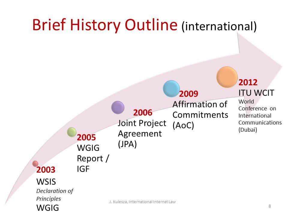 International Internet Law narrow approach legal regulation behind the Internet back-bone (DNS, TCP/IP, root-servers, ICANN) o Internet backbone administration model o Internet backbone property model J.