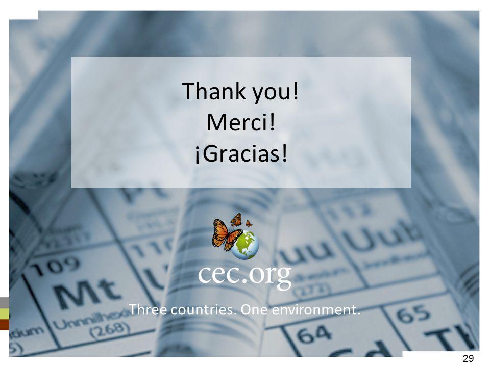Thank you! Merci! ¡Gracias! Three countries. One environment. 29