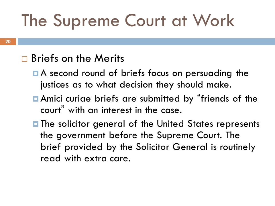 The Supreme Court at Work 20  Briefs on the Merits  A second round of briefs focus on persuading the justices as to what decision they should make.