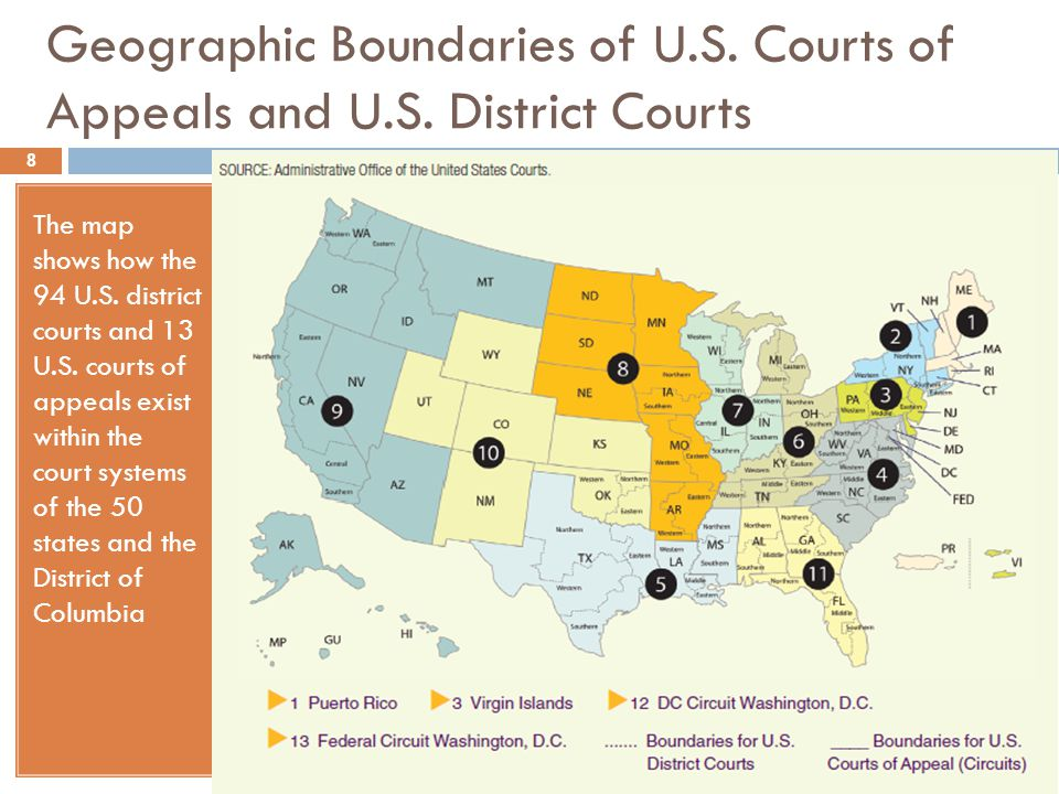 Geographic Boundaries of U.S. Courts of Appeals and U.S. District Courts The map shows how the 94 U.S. district courts and 13 U.S. courts of appeals e