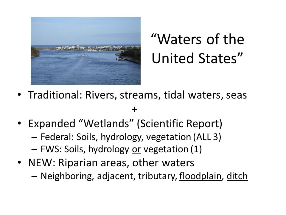 Waters of the United States Traditional: Rivers, streams, tidal waters, seas + Expanded Wetlands (Scientific Report) – Federal: Soils, hydrology, vegetation (ALL 3) – FWS: Soils, hydrology or vegetation (1) NEW: Riparian areas, other waters – Neighboring, adjacent, tributary, floodplain, ditch