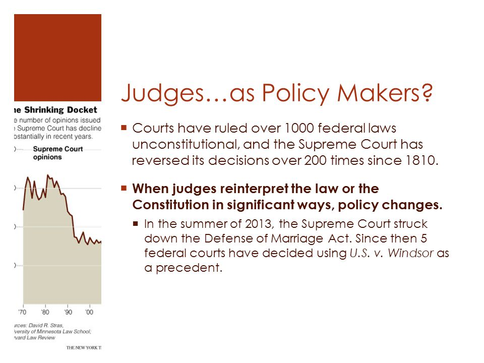Judges…as Policy Makers?  Courts have ruled over 1000 federal laws unconstitutional, and the Supreme Court has reversed its decisions over 200 times