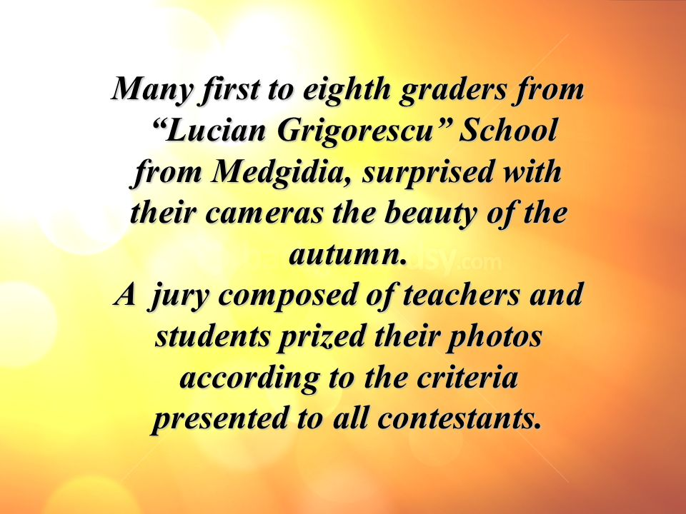 """Many first to eighth graders from """"Lucian Grigorescu"""" School """"Lucian Grigorescu"""" School from Medgidia, surprised with their cameras the beauty of the"""