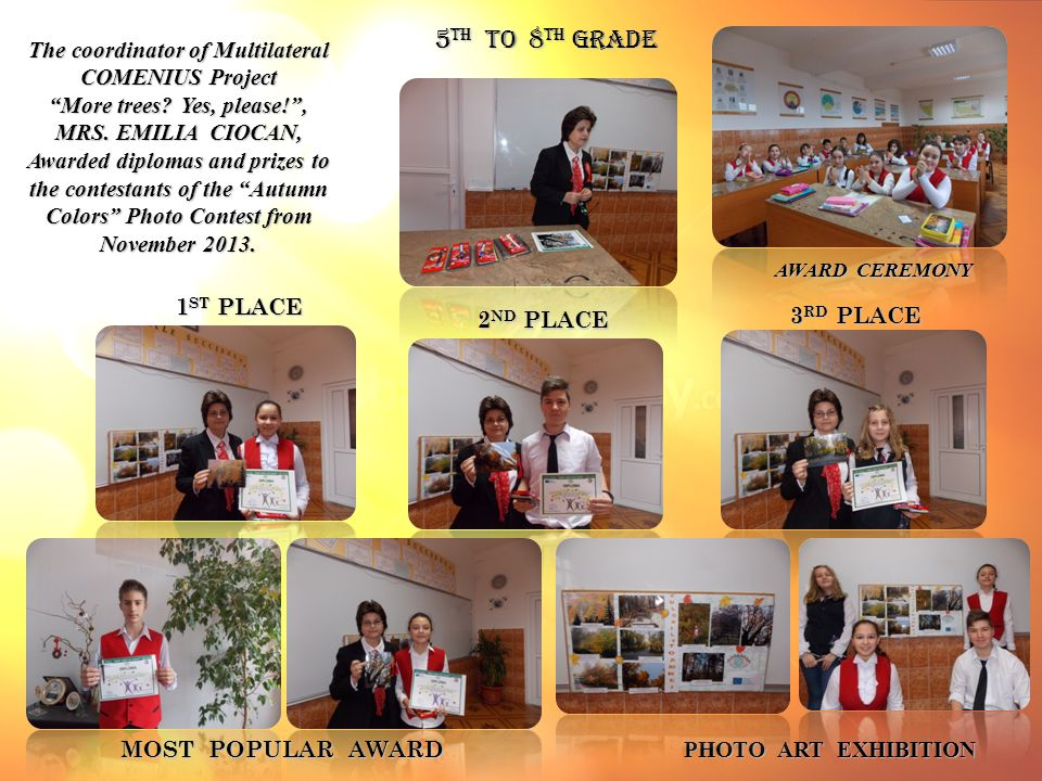 1 ST PLACE The coordinator of Multilateral COMENIUS Project More trees.