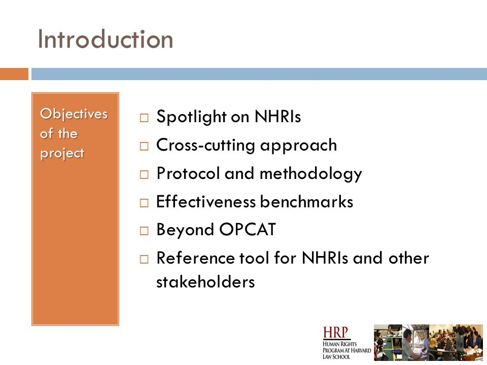 Introduction Objectives of the project  Spotlight on NHRIs  Cross-cutting approach  Protocol and methodology  Effectiveness benchmarks  Beyond OPCAT  Reference tool for NHRIs and other stakeholders