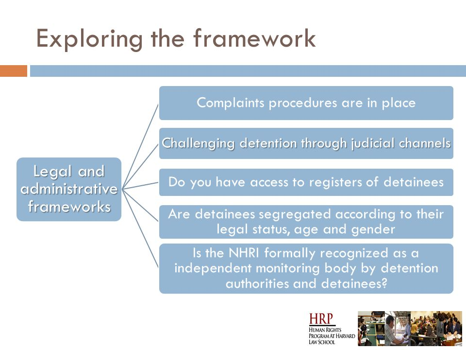 Exploring the framework Legal and administrativ e frameworks Complaints procedures are in place Challenging detention through judicial channels Do you have access to registers of detainees Are detainees segregated according to their legal status, age and gender Is the NHRI formally recognized as a independent monitoring body by detention authorities and detainees?