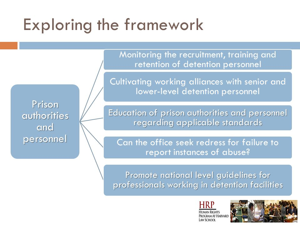 Exploring the framework Prison authorities and personnel Monitoring the recruitment, training and retention of detention personnel Cultivating working alliances with senior and lower-level detention personnel Education of prison authorities and personnel regarding applicable standards Can the office seek redress for failure to report instances of abuse.