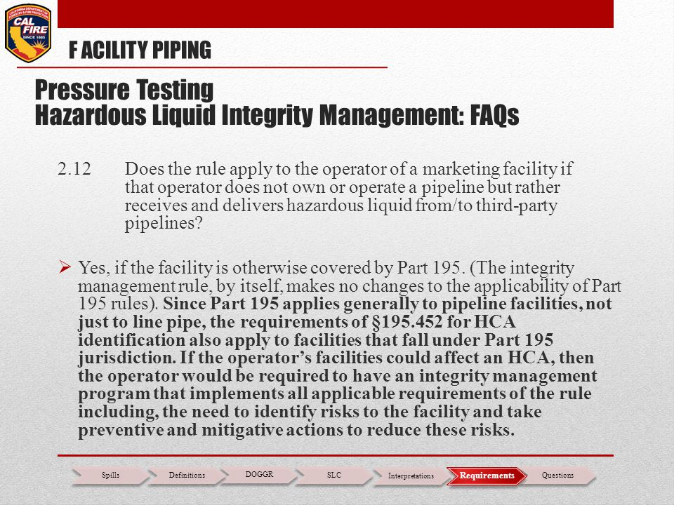 2.12 Does the rule apply to the operator of a marketing facility if that operator does not own or operate a pipeline but rather receives and delivers