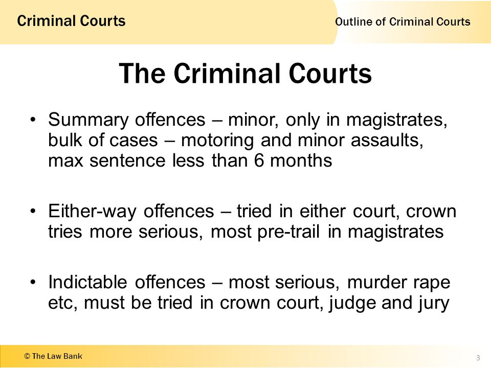 Outline of Criminal Courts Criminal Courts © The Law Bank The Criminal Courts Summary offences – minor, only in magistrates, bulk of cases – motoring and minor assaults, max sentence less than 6 months Either-way offences – tried in either court, crown tries more serious, most pre-trail in magistrates Indictable offences – most serious, murder rape etc, must be tried in crown court, judge and jury 3
