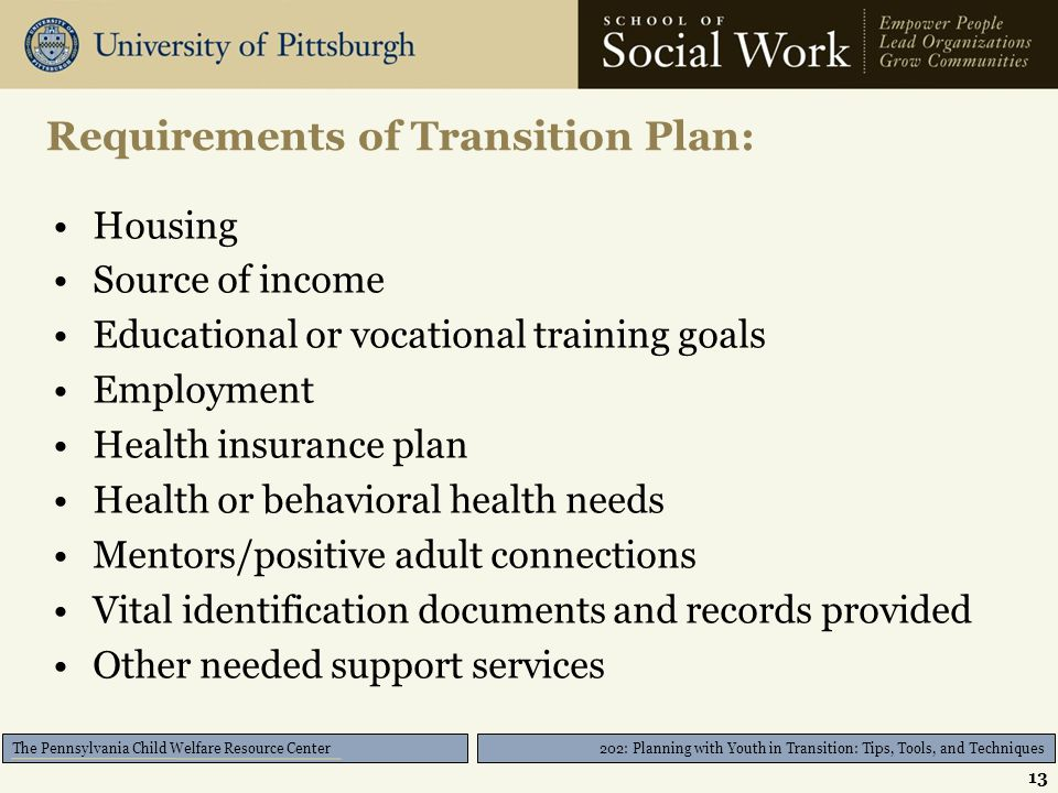 202: Planning with Youth in Transition: Tips, Tools, and Techniques The Pennsylvania Child Welfare Resource Center Requirements of Transition Plan: Housing Source of income Educational or vocational training goals Employment Health insurance plan Health or behavioral health needs Mentors/positive adult connections Vital identification documents and records provided Other needed support services 13