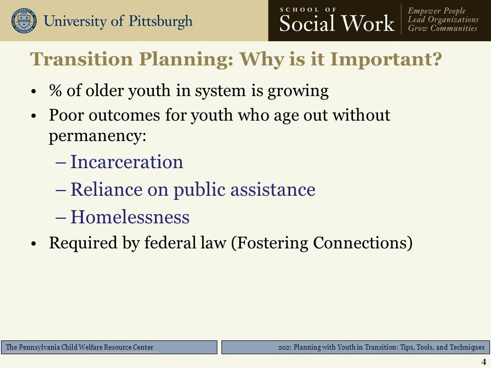 202: Planning with Youth in Transition: Tips, Tools, and Techniques The Pennsylvania Child Welfare Resource Center Tools/Suggestions for Preparing Youth for Court Institute hearing requiring youth participation –Cumberland County –Northumberland County –Adams County Prepare tools that help youth participate –Youth Fostering Change Youth-Developed Discharge Hearing Form 25
