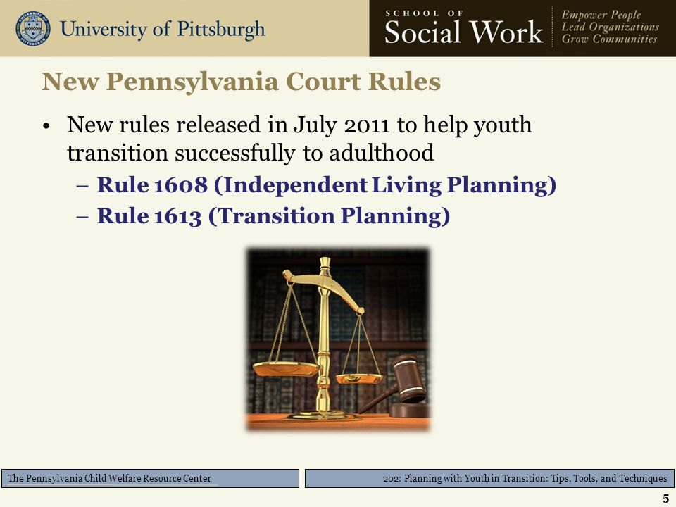 202: Planning with Youth in Transition: Tips, Tools, and Techniques The Pennsylvania Child Welfare Resource Center The Transition Plan in the Real World 26
