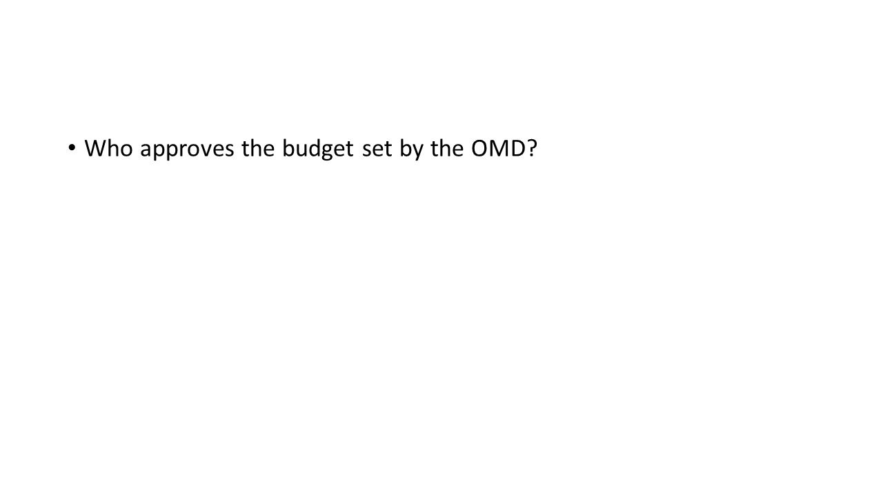 Who approves the budget set by the OMD?