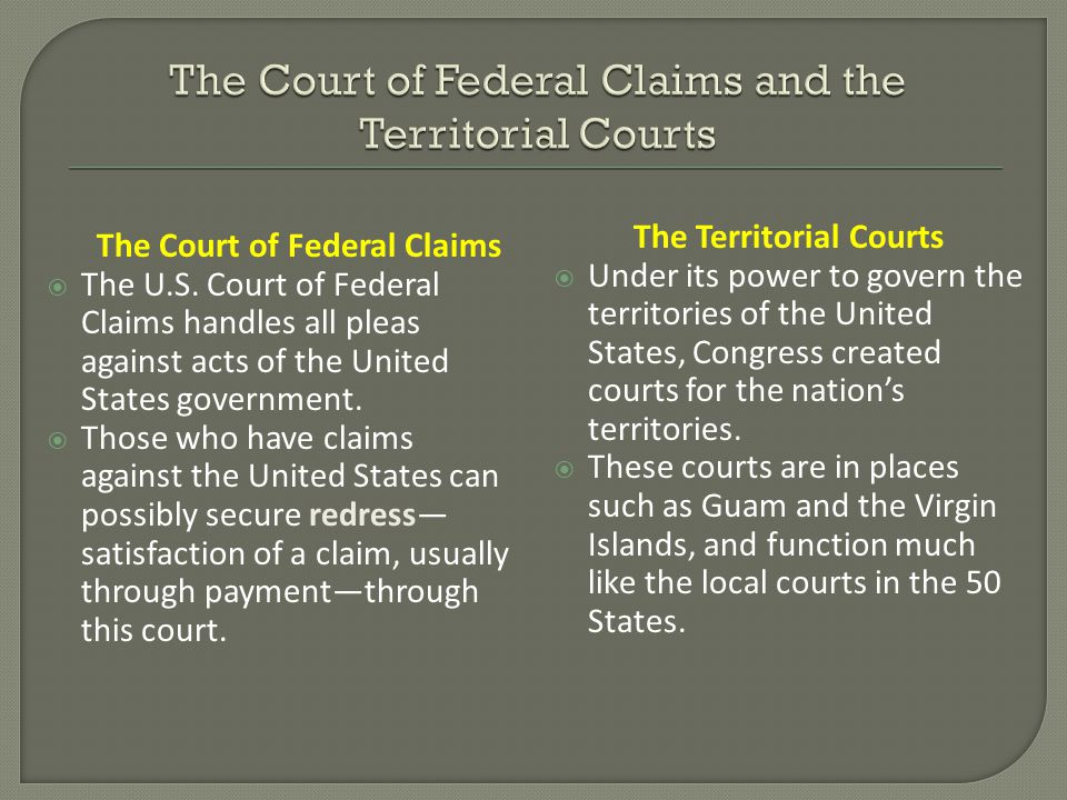 The Court of Federal Claims  The U.S.