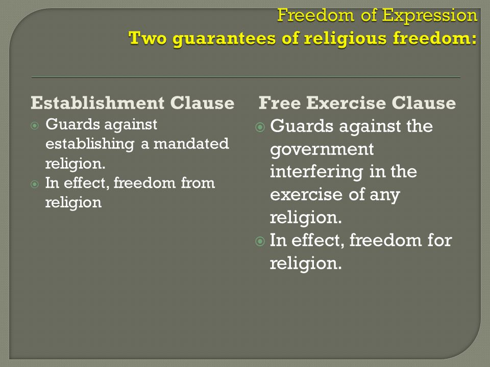 Free Exercise Clause  Guards against the government interfering in the exercise of any religion.