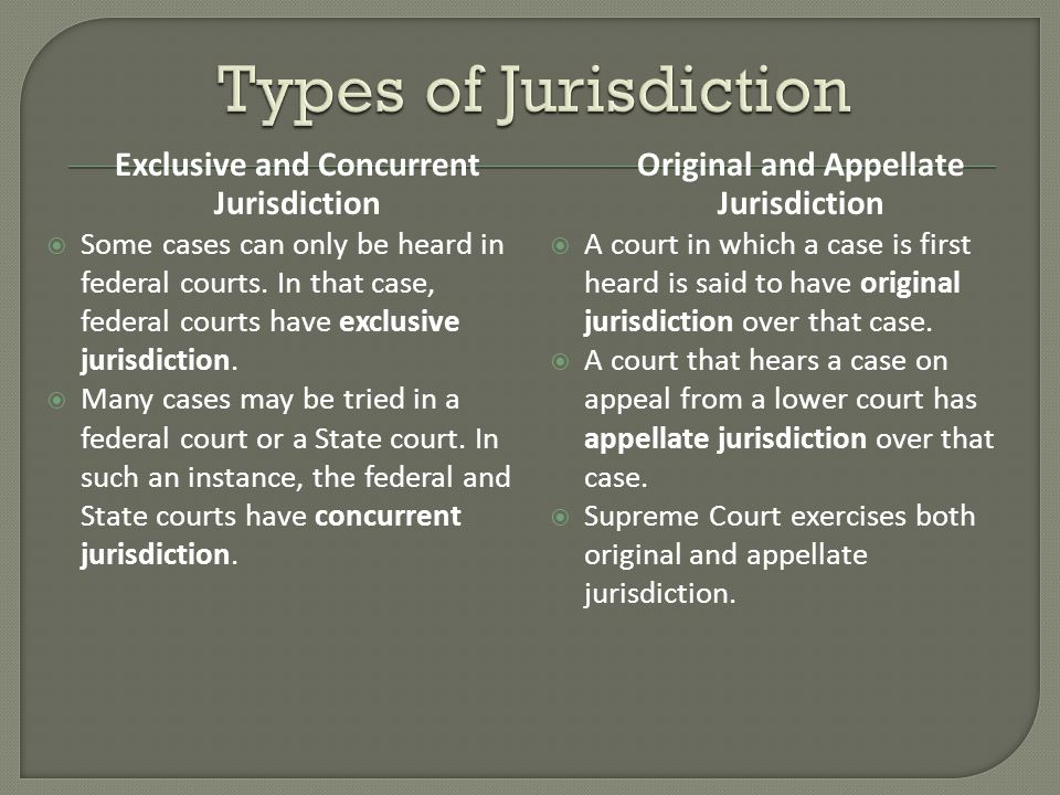 Exclusive and Concurrent Jurisdiction  Some cases can only be heard in federal courts.