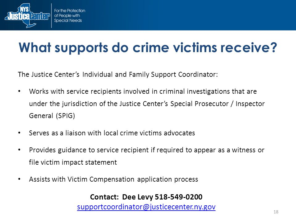 What supports do crime victims receive.