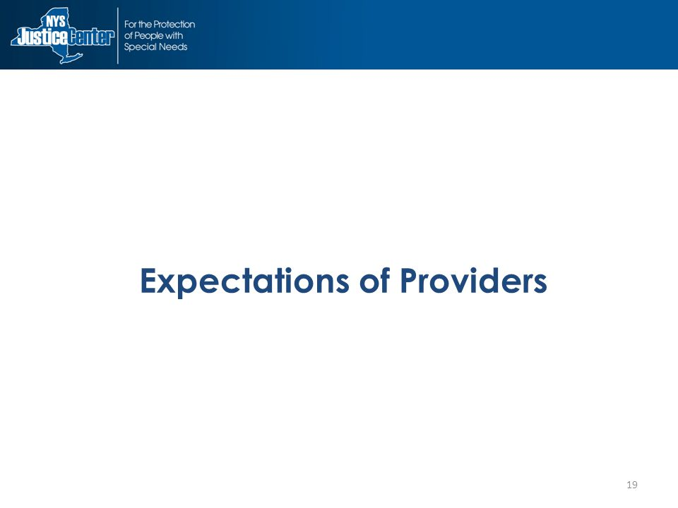 19 Expectations of Providers
