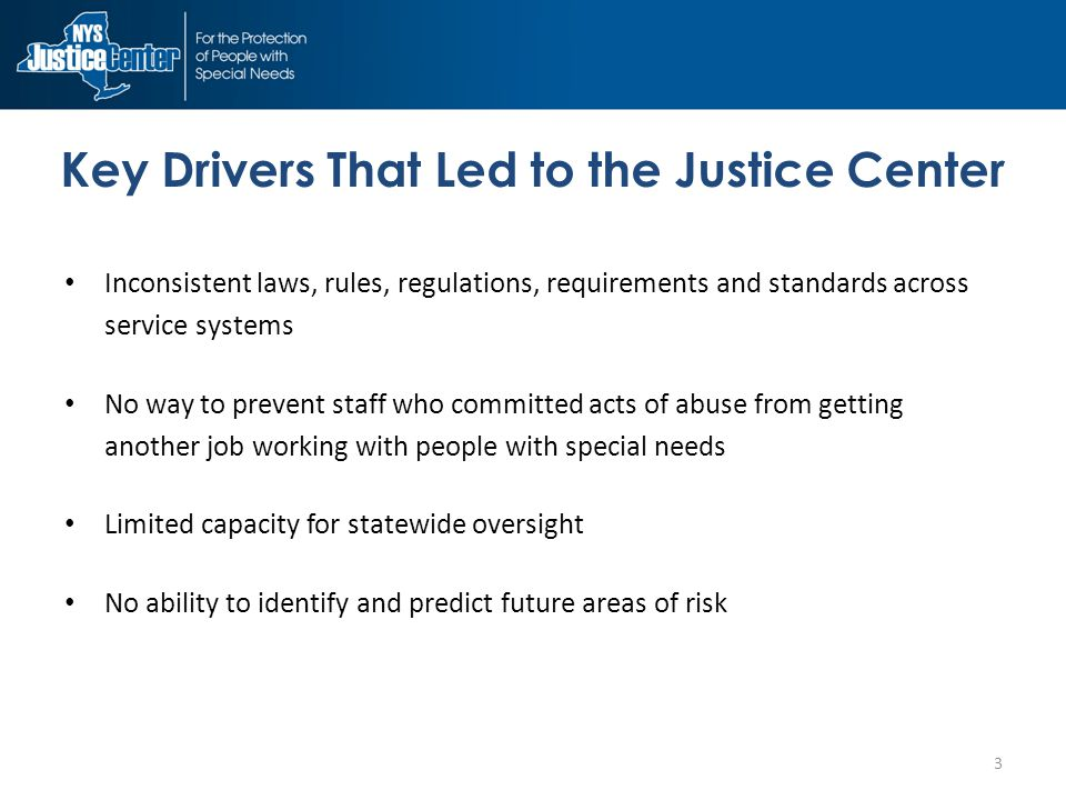 Key Drivers That Led to the Justice Center Inconsistent laws, rules, regulations, requirements and standards across service systems No way to prevent staff who committed acts of abuse from getting another job working with people with special needs Limited capacity for statewide oversight No ability to identify and predict future areas of risk 3