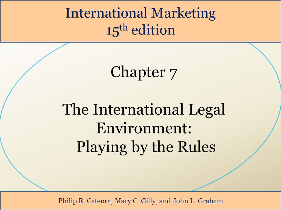 International Marketing 15 th edition Philip R. Cateora, Mary C. Gilly, and John L. Graham