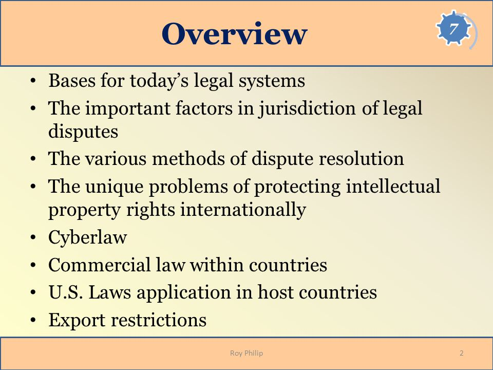 Bases for Legal Systems Four heritages form the basis for the majority of the legal systems of the world – Common law – Civil or code law – Islamic law – Marxist-socialist tenets Even though a country's laws may be based on the doctrine of one of the four legal systems its individual interpretation may vary significantly 3Roy Philip