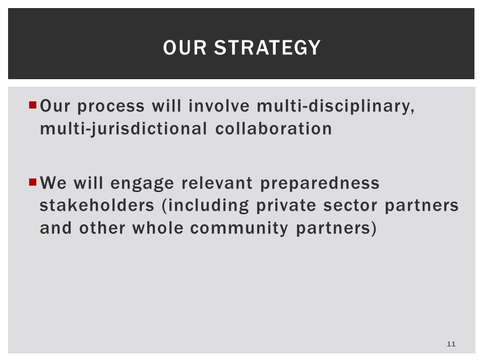  Our process will involve multi-disciplinary, multi-jurisdictional collaboration  We will engage relevant preparedness stakeholders (including priva