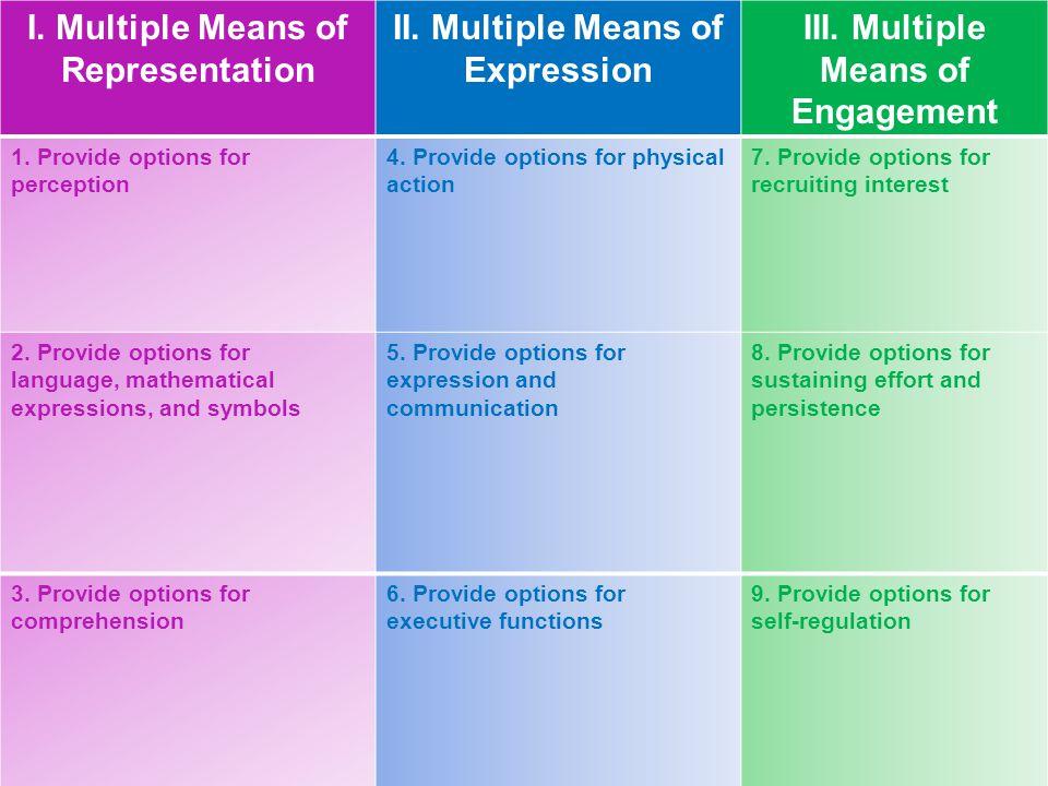 I. Multiple Means of Representation II. Multiple Means of Expression III. Multiple Means of Engagement 1. Provide options for perception 4. Provide op