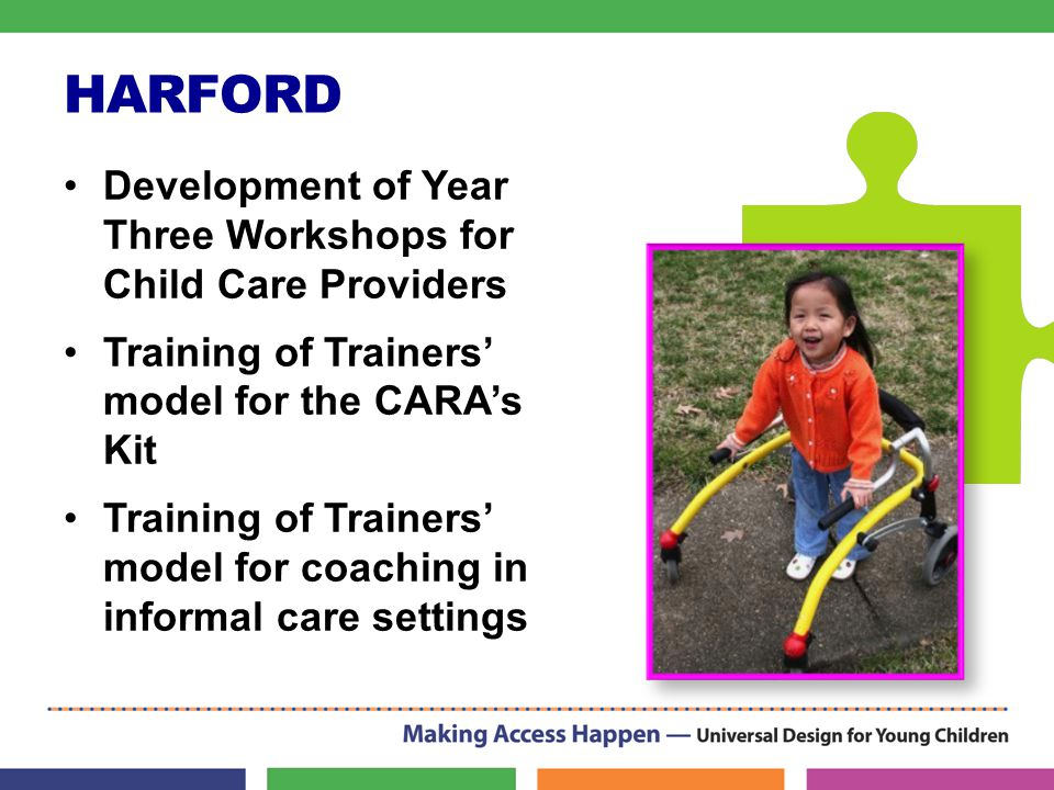HARFORD Development of Year Three Workshops for Child Care Providers Training of Trainers' model for the CARA's Kit Training of Trainers' model for co