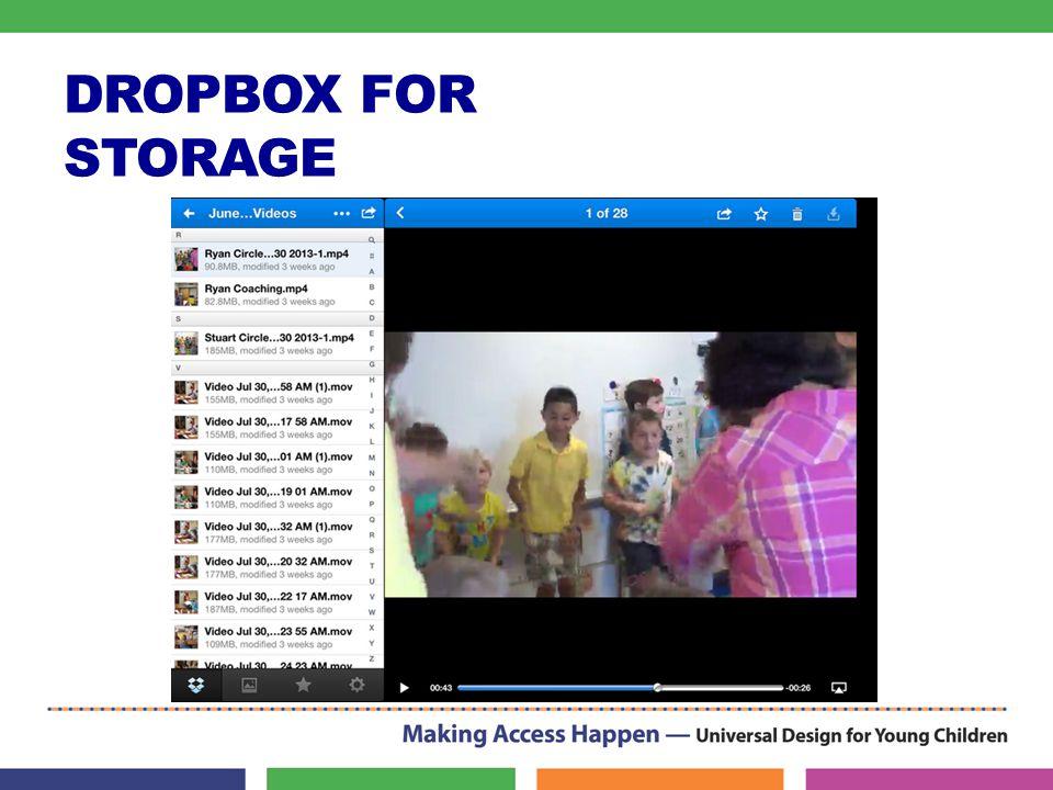 DROPBOX FOR STORAGE