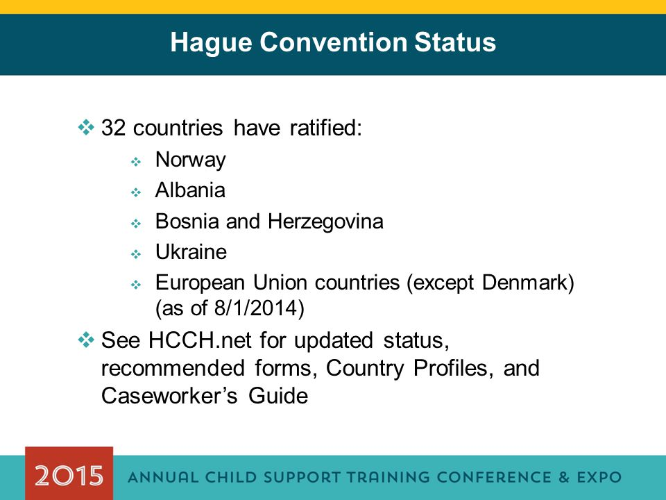 Hague Convention Status  32 countries have ratified:  Norway  Albania  Bosnia and Herzegovina  Ukraine  European Union countries (except Denmark