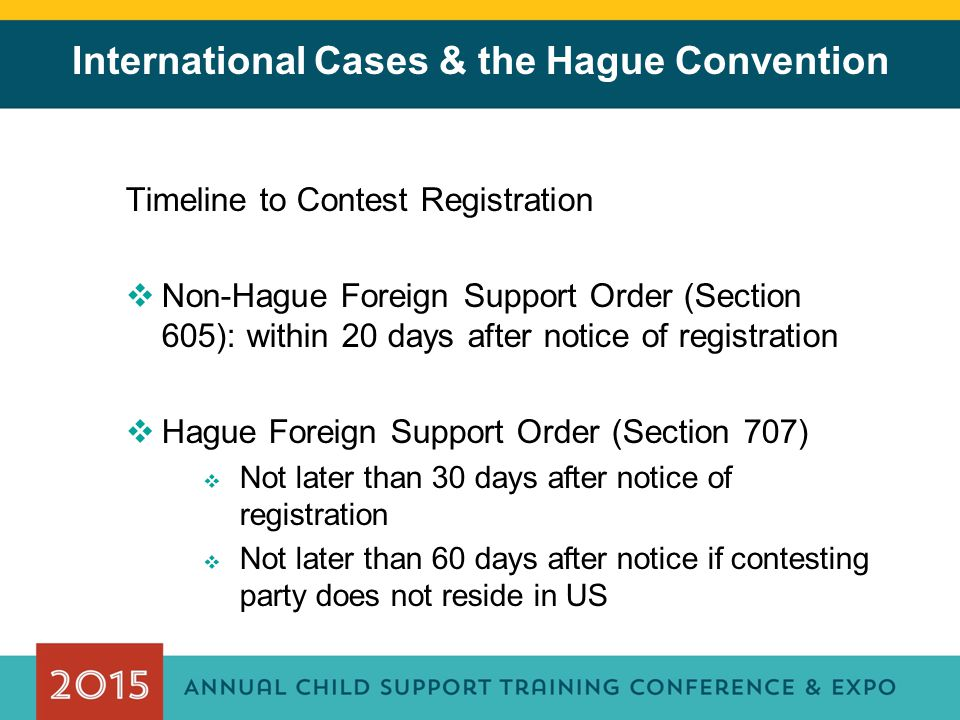 International Cases & the Hague Convention Timeline to Contest Registration  Non-Hague Foreign Support Order (Section 605): within 20 days after noti