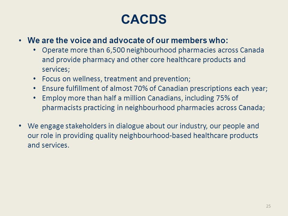 CACDS We are the voice and advocate of our members who: Operate more than 6,500 neighbourhood pharmacies across Canada and provide pharmacy and other core healthcare products and services; Focus on wellness, treatment and prevention; Ensure fulfillment of almost 70% of Canadian prescriptions each year; Employ more than half a million Canadians, including 75% of pharmacists practicing in neighbourhood pharmacies across Canada; We engage stakeholders in dialogue about our industry, our people and our role in providing quality neighbourhood-based healthcare products and services.