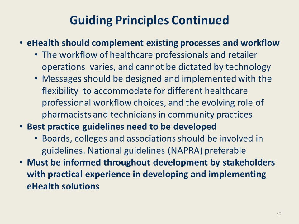 30 Guiding Principles Continued eHealth should complement existing processes and workflow The workflow of healthcare professionals and retailer operat