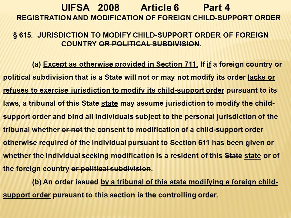 UIFSA 2008 Article 6 Part 4 REGISTRATION AND MODIFICATION OF FOREIGN CHILD-SUPPORT ORDER § 615.