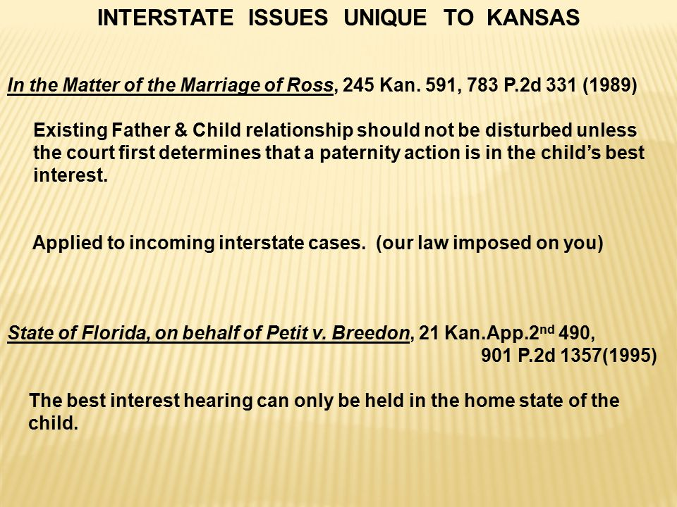 INTERSTATE ISSUES UNIQUE TO KANSAS In the Matter of the Marriage of Ross, 245 Kan.