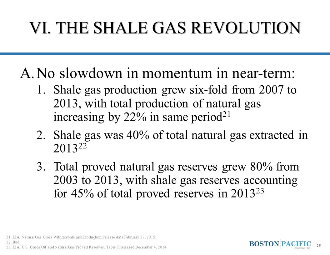 A.No slowdown in momentum in near-term: 1.Shale gas production grew six-fold from 2007 to 2013, with total production of natural gas increasing by 22%