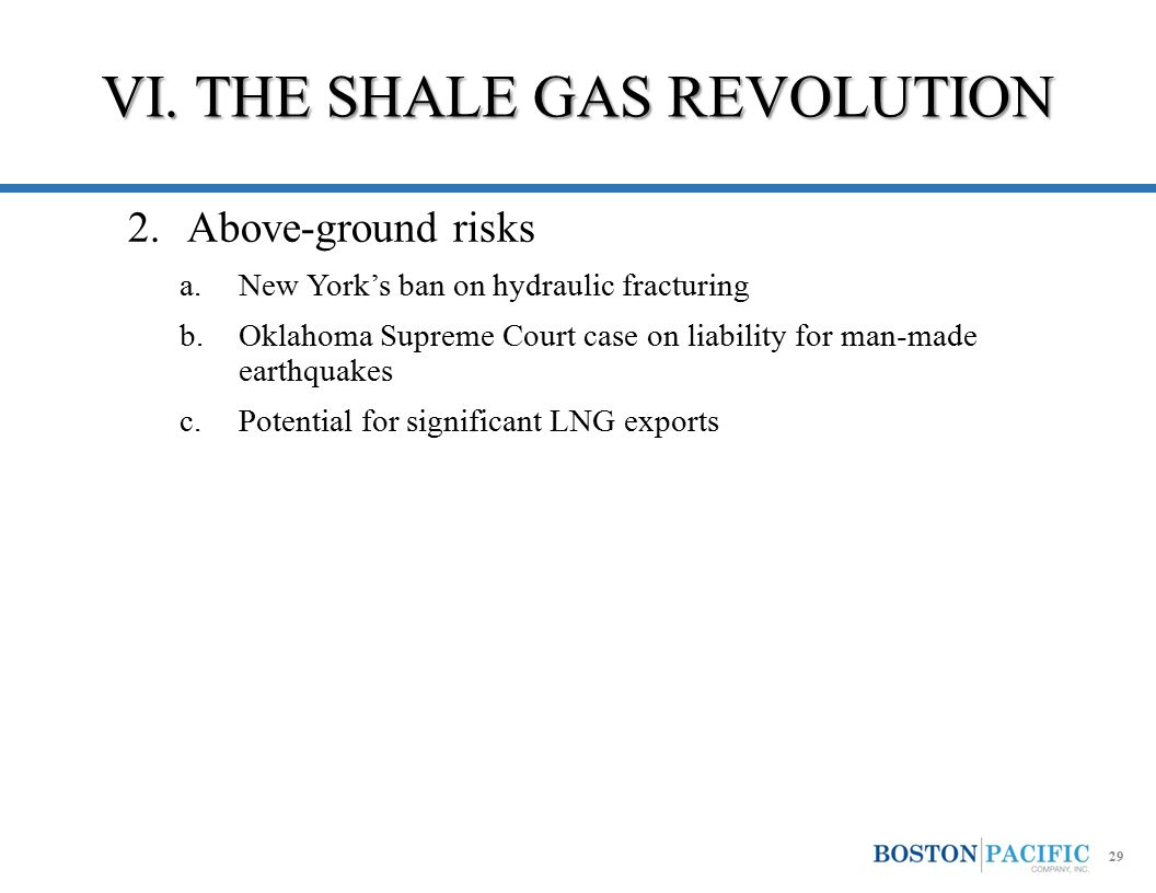 2.Above-ground risks a.New York's ban on hydraulic fracturing b.Oklahoma Supreme Court case on liability for man-made earthquakes c.Potential for sign