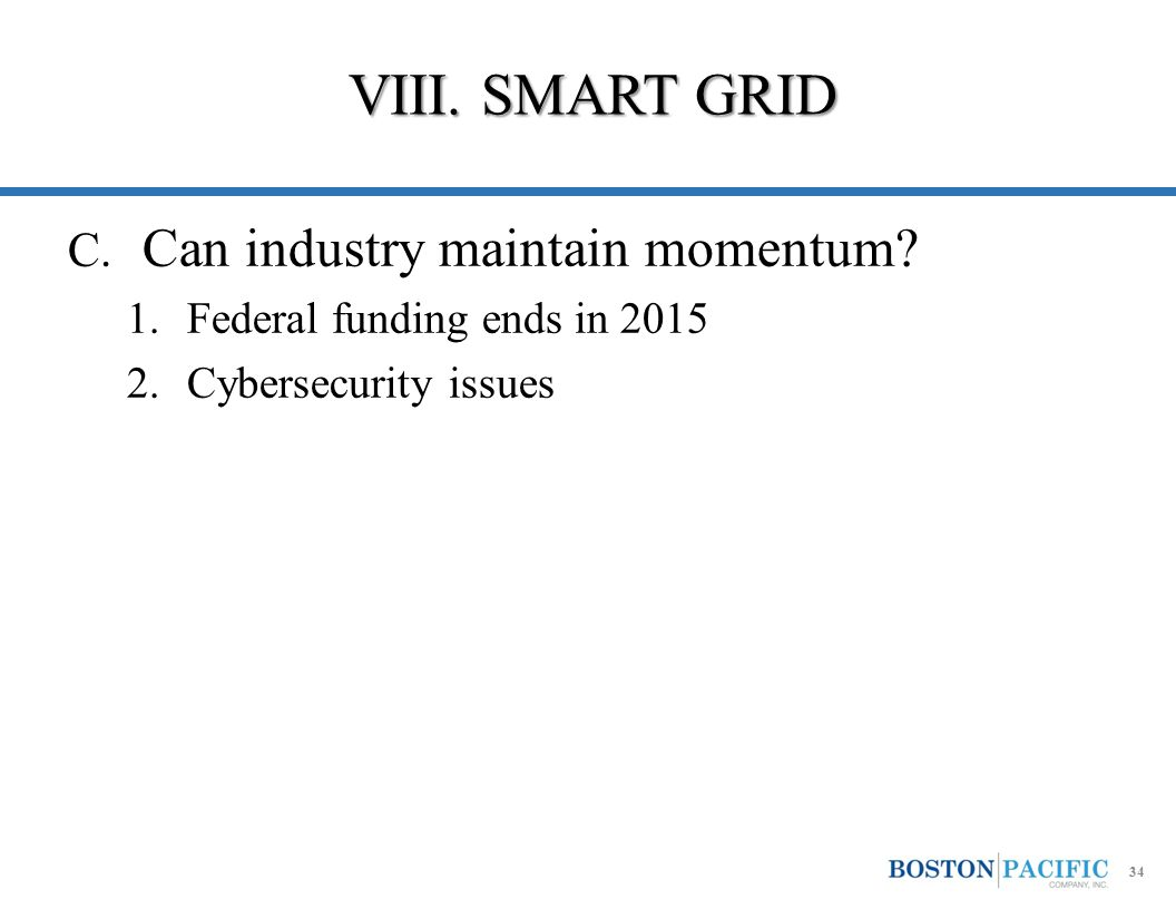 VIII. SMART GRID C. Can industry maintain momentum? 1.Federal funding ends in 2015 2.Cybersecurity issues 34
